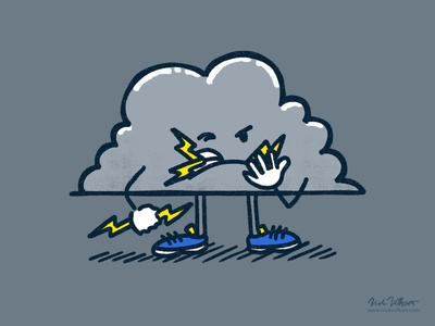 Lightning Cloud grouchy grimace eating cloud illustration storm thunderstorm bolt lightning