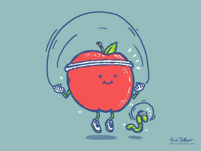 Wellness Apple illustration worm apple jumprope fitness wellness