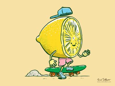 The Lemon Skater illustration skatedeck skateboard skating skater fruit lemon