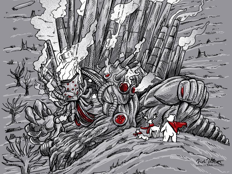 The Smog Monster illustration smoggy smoke robot superhero cape deer polar bear fox earth soot pollution smog