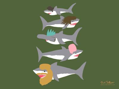 Shark Doos art illustration beard beehive mowhawk hairdoo shark