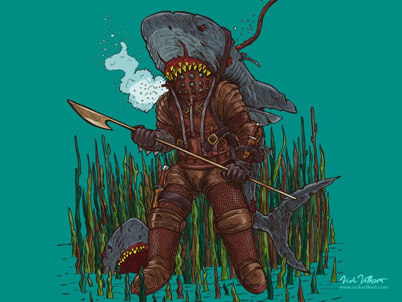 Deep Sea Zombie Shark Hunter illustration pen and ink halloween macabre horror underwater diving deep sea diver great white shark zombie