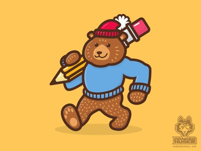 The Pencil Bear illustrator sweater fall stockingcap pencil grizzlybear bear vectorart vector illustration art