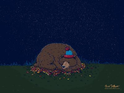 Sleepy Night Novembear night nightsky stars leaves bear grizzly bear sleeping sleepy sleep autumn fall