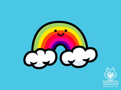 The Happy Rainbow cloud happy primary colors rainbow art vector art vector illustrator illustration
