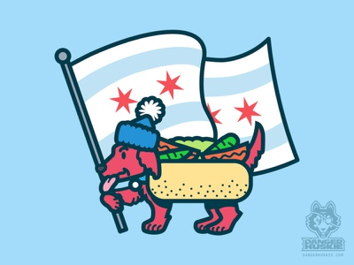 Chicago Dog with Flag art vector art illustrator vector chicago flag hot dogs dachshund hot dog chicago dog chicago