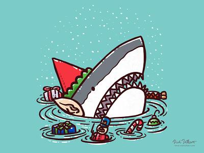 The Elf Shark holidays december snow illustration great white shark christmas santa elf