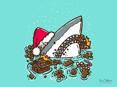 The Gingerbread Destruction Shark illustration great white shark holiday xmas christmas gingerbread house fire gingerbread man house gingerbread