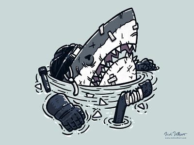 The Goon Shark fighter scars bandages goon hockey illustration great white shark shark great white