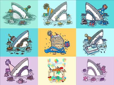 Happy bday '21 pancakes sheet cake cupcake frosting cake birthday party great white shark illustration birthday