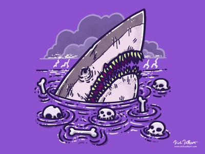 The Nightmare Shark lightning great white shark illustration purple horror scary skulls shark