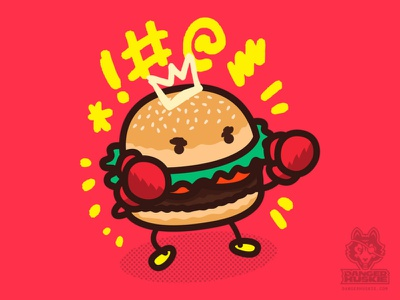 Fighting Burger exclamation illustrator vector boxer boxing fighter hamburger burger