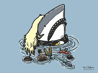 Mullet Shark II fireworks illustration great white shark mullet