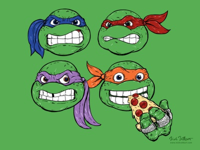 Game Face national pizza day pizza art illustration tmnt