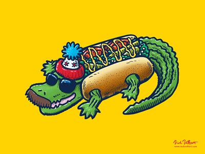 Da Chicago Gator Dog illustration stocking cap mustache sunglasses hot dog chicago style hot dog alligator gator chicago
