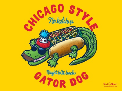 Da Chicago Gator Dog Text Tee mustache stocking cap sunglasses chance the snapper chicago style hot dog chicago dog illustration gator alligator