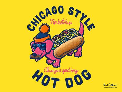 Da Chicago Dog with Text windy city sunglasses stocking cap mustache wiener dog dachshund art illustration hot dog chicago