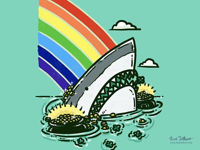 Pot O'Gold Shark clover rainbow illustration shark great white gold irish st patricks day lucky