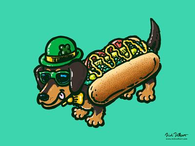 St Patricks Day Chicago Dog clover lucky green illustration dog wiener dog dachshund hot dog chicago dog chicago st patricks day