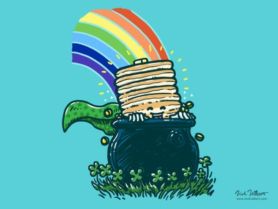 Pot O'Gold Cakes illustration rainbow pot of gold st patricks day cape breakfast pancakes captain pancake superhero