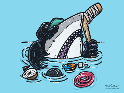 Excllent Shark party time water donut hockey illustration great white shark excellent
