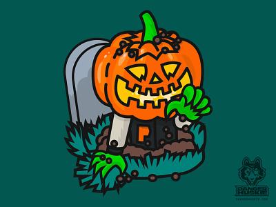 Varsity Pumpkin Grave horror halloween october vector zombie undead grave jack o lantern pumpkin illustration illustrator