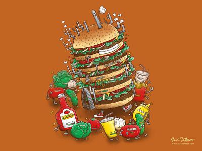 Uber BurgerBot summer summertime grilling ketchup illustration pen and ink cheeseburger hamburger burger