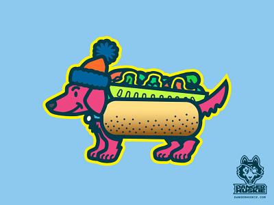 Da Chicago Mustard Dog hot dog illinois dachshund wiener dog dog chicago dog chicago illustrator vector illustration