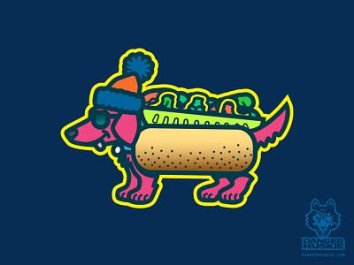 Da Chicago Shades Dog wiener dog dachshund hot dog chicago dog chicago illustrator vector illustration