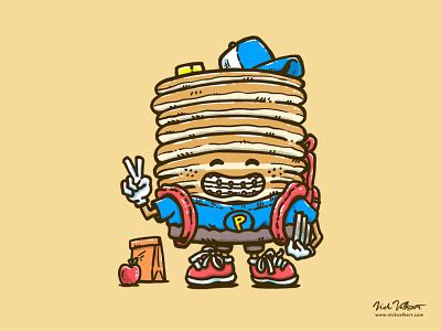 Back to School Cakes fall backpack braces pancakes breakfast awkward school back to school captain pancake illustration