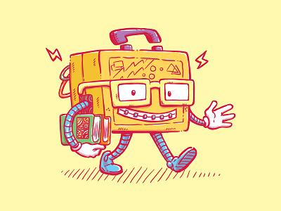 Back to School Lunchpail Bot illustration awkward geeky dorky nerdy lunchpail robot school back to school