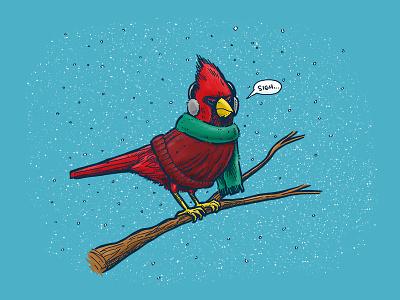 Annoyed IL Birds: The Cardinal cold winter illustration state bird chicago il illinois cardinal