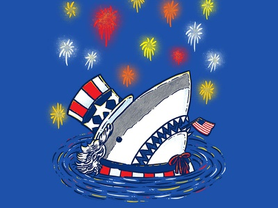 The Patriotic Shark independence day fireworks 4th of july america usa uncle sam shark patriotic