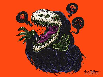 Grim Reapersaur halloween cloak skull illustration raptor dinosaur grim reaper