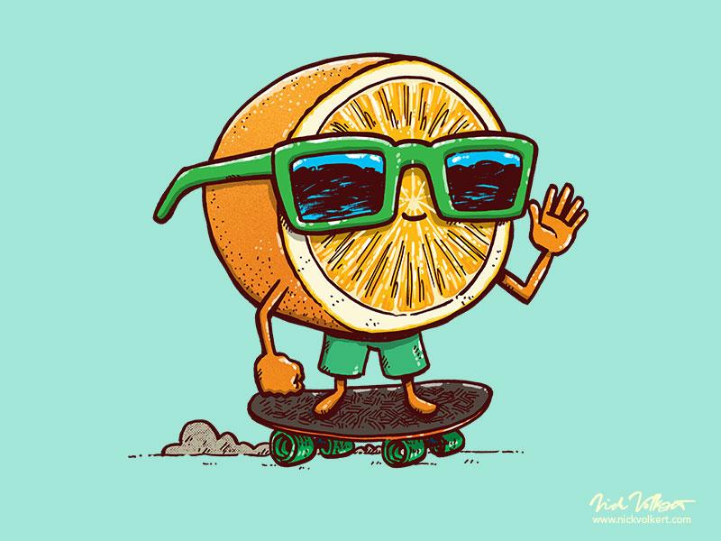 The Orange Skater orang inktober fruit summer sunglasses illustration skateboarding skater orange