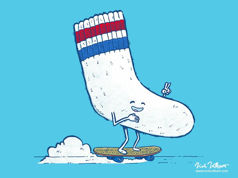 Lost Sock Skater socket illustration peace skateboarding skater sock