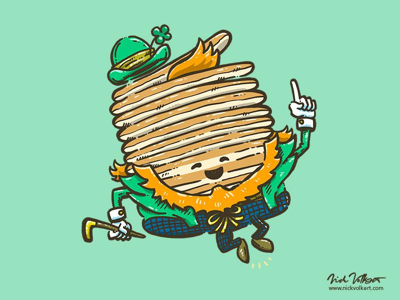 St Patricks Cakes illustration shamrock captain pancake pancakes luck irish st patricks day