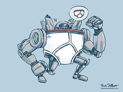 Uber UnderwearBot funny art illustration bot robot tighty whities undies