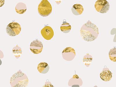 Bohemian Christmas pattern wrapping paper holidays toys pink blush illustration artsy boho bohemian artistic cute cartoon gold foil gold christmas tree ball christmas tree pattern christmas xmas winter