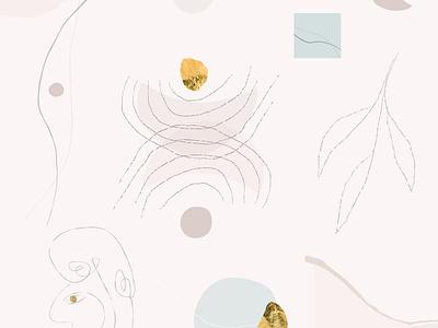 Modernist chic shapes textures art artsy illustration boho pattern background bohemian artistic