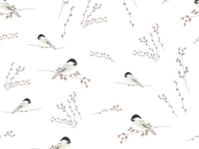 Cute  little tit birds on the willow easter print painting digital art doodles delicate hand draw illustration cute artistic surface winter spring floral tree willow birds tit pattern seamless