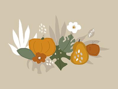 Pumpkin Harvest harvesting poster cook cooking leaves tropical vegetable fruit kitchen food doodles textures cartoon floral hand draw background illustration pattern harvest pumpkin