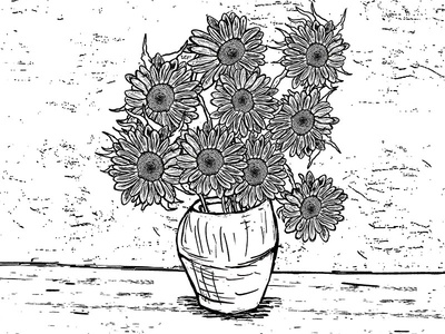 "Van Goh ""Sunflowers"" drawing designs illustraion"