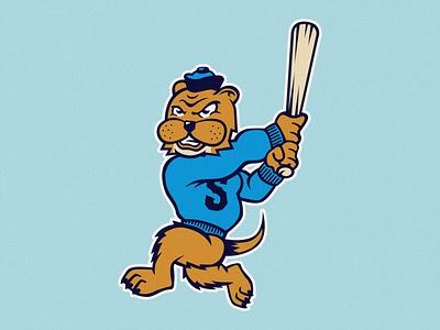 The Southie Sea Otters southie otter sea otter baseball branding design illustrator graphic design flat illustration design branding