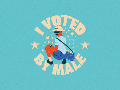 Vote by Male mailman voted sticker vote typography illustrator flat illustration graphic design branding design