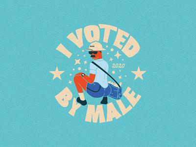 Vote by Male mailman voted sticker vote typography illustrator flat illustration graphic design branding design