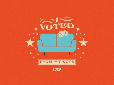 I voted from my sofa sticker voted mail sofa typography illustrator flat illustration graphic design branding design