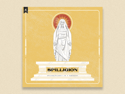 no.4: Spilligion spillage village dreamville hip hop rap religion album art album lettering typography illustrator flat illustration graphic design branding design