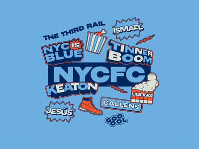 New York is blue baby ⚡️🔵⚡️ blue new york city football club nycfc nyc mls soccer gif stickers flat illustration graphic design branding design