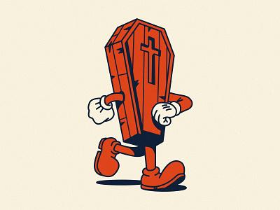 Ain't no rest for the wicked coffin halloween mascot walk spooktober spooky vector illustrator flat illustration graphic design branding design